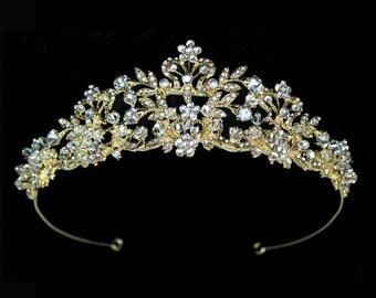 Gold Crystal wedding tiara, Gold tiara, gold bridal tiara, gold crystal wedding crown, gold crystal crown, gold wedding tiara