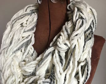 Nearly White Chunky Cowl -  textured handknit bulky cowl, ready to ship, bulky lightweight warm oversized cowl