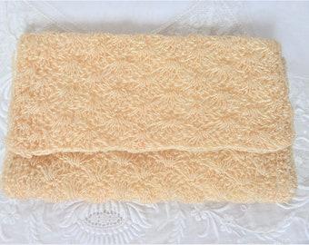 Vintage Ivory Envelope Clutch Purse Evening Bag Japan