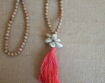 SALE Long wood bead necklace with cowrie shells and a cotton tassel, bohemian style, beach boho, layering necklace, tropical necklace