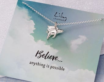 Sterling Silver Flying Pig Necklace with 'Believe . . . anything is possible' Message Card - Flying Pig Pendant - Good Luck Gift