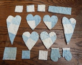 Craft Embellishments, Junk Journal Scraps, Old Quilt Pieces, Cardmaking Project, Scrapbooking Decorations, Blue and Cream, Polka Dot, Sewing
