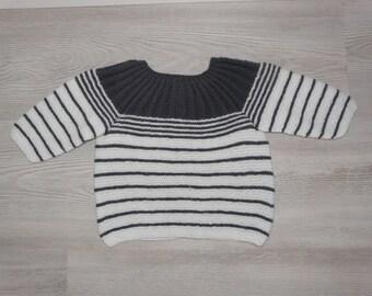 Handknitted jumper jacket dark gray and white 3-6 months baby - birth gift