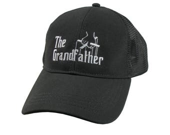 The Grandfather Godfather Style White Embroidery on an Adjustable Structured Mid Profile Black on Black Truckers Style Mesh Baseball Cap