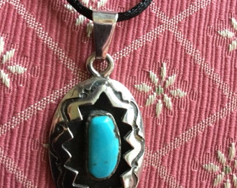 Vintage Native American Sterling Silver Turquoise Pendant Necklace