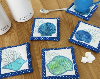 In the Hoop Coasters Pack- 4 designs - ITH Summer Project - ITH embroidery  design