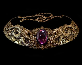 Dragon Necklace - Medieval - Fantasy - Renaissance - Khaleesi - Daenerys Targaryen - Bronze - Purple - Amethyst - Queen - Game of Thrones