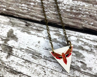 Elephant Hawk Moth Necklace, Moth Pendant, Moth Charm, Moth Jewellery, Moth Jewelry, Insect Necklace, Entomology, Insect Jewelry