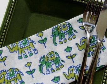 Elephant napkins SET OF 4 green elephants block print spring table setting - hostess gifts - boho and rustic cloth napkins