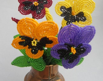 Pansy - French Beaded Flower