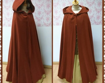 hooded cloak wool blend/ hooded cape  / fantasy cape /medieval cape / victorian cape / larp cape / outlander cape /  warm cloak