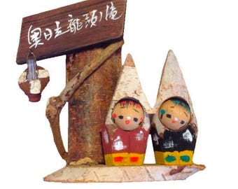 Vintage Handcrafted Wooden Japanese Kokeshi Doll Pair with Sign