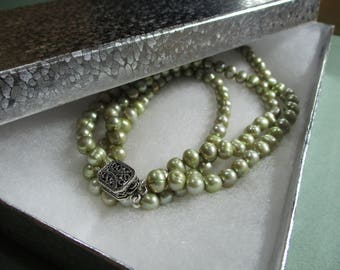 2 Strands of Sage Green Freshwater Pearls