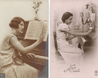 Three RPPC French Ste. Cecile Girls at Piano postcards, ca. 1930s