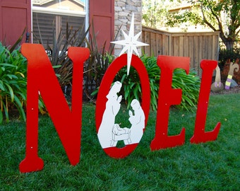 Noel Christmas Sign with Engraved Nativity Yard Art Sign Large