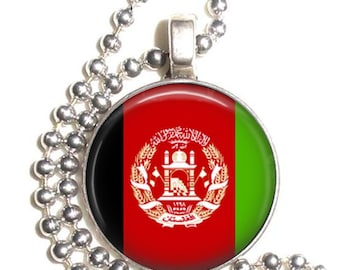 Afganistan Flag Altered Art Pendant, Earrings and/or Keychain, Round Photo Silver and Resin Charm Jewelry