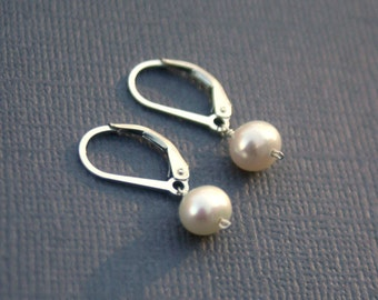 Tiny sterling silver earrings- freshwater pearl earring, leverback or french wire