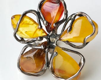Amber Ring, Flower Rings, Silver Amber Ring, Statement Rings, Baltic Amber Ring, Silver Gemstone Ring, Amber jewelry