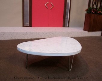 1:6 scale Barbie coffee table Mid Century modern with hairpin legs atomic shape