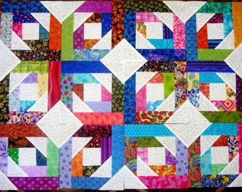 12 BRIGHT STARS Quilt Top Fabric Blocks Squares