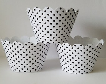 Black and White Polka Dots Cupcake Wrappers, Party decorations, cupcake holders, party supplies, cupcake wraps, cupcake sleeves, paper goods