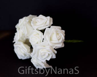 Silk flowers bulk etsy creamy white foam roses 10pc foam roses bulk silk flowers cheap silk flowers mightylinksfo