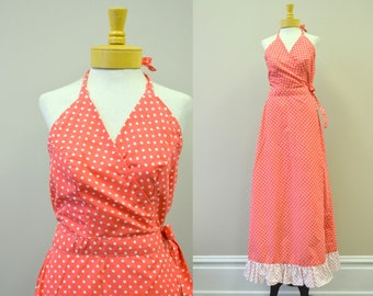 1970s Coral Polka Dot Halter Wrap Maxi Dress