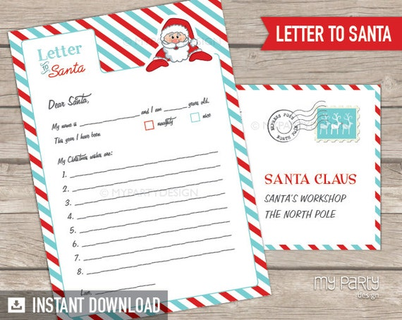 Items similar to letter to santa kit with envelope template red items similar to letter to santa kit with envelope template red turquoise santa claus christmas instant download printable pdf on etsy spiritdancerdesigns Image collections