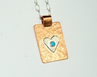 Mixed Metal Necklace - Heart Pendant - Turquoise - Copper and Sterling Silver - Southwestern Jewelry