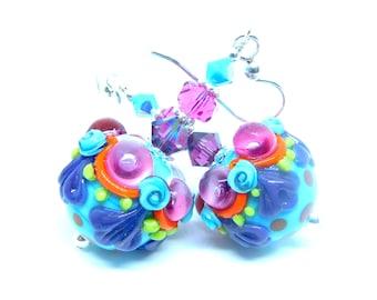 Bright Colorful Funky Glass Dangle Earrings, Blue Pink Purple Green Orange Polka Dot Earrings, Unique Fun Jewelry, Lampwork Earrings