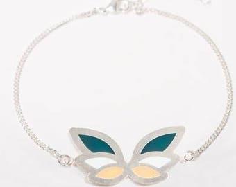 Bracelet adjustable silver Butterfly pattern