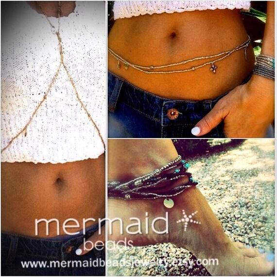 Waist Beads Gold Body Chain Gold Stretch Body Jewelry Belly Chain Waist Beads Anklet Necklace Choker Bracelet Boho Beach Bikini Jewelry Gift