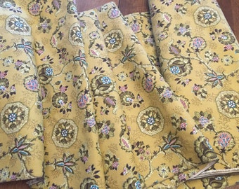 Upholstery Drapery  Fabric, Vintage Covington Decorating Yellow Maize Floral Print Heavy Cotton, over 5.5  yards