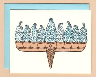 Ice Cream Menorah Hanukkah Card