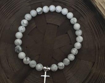 Natural White Howlite Sterling Silver Christian Cross Beaded Bracelet