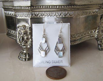 Mother of Pearl Sterling Silver Earrings, MOP elegant earrings