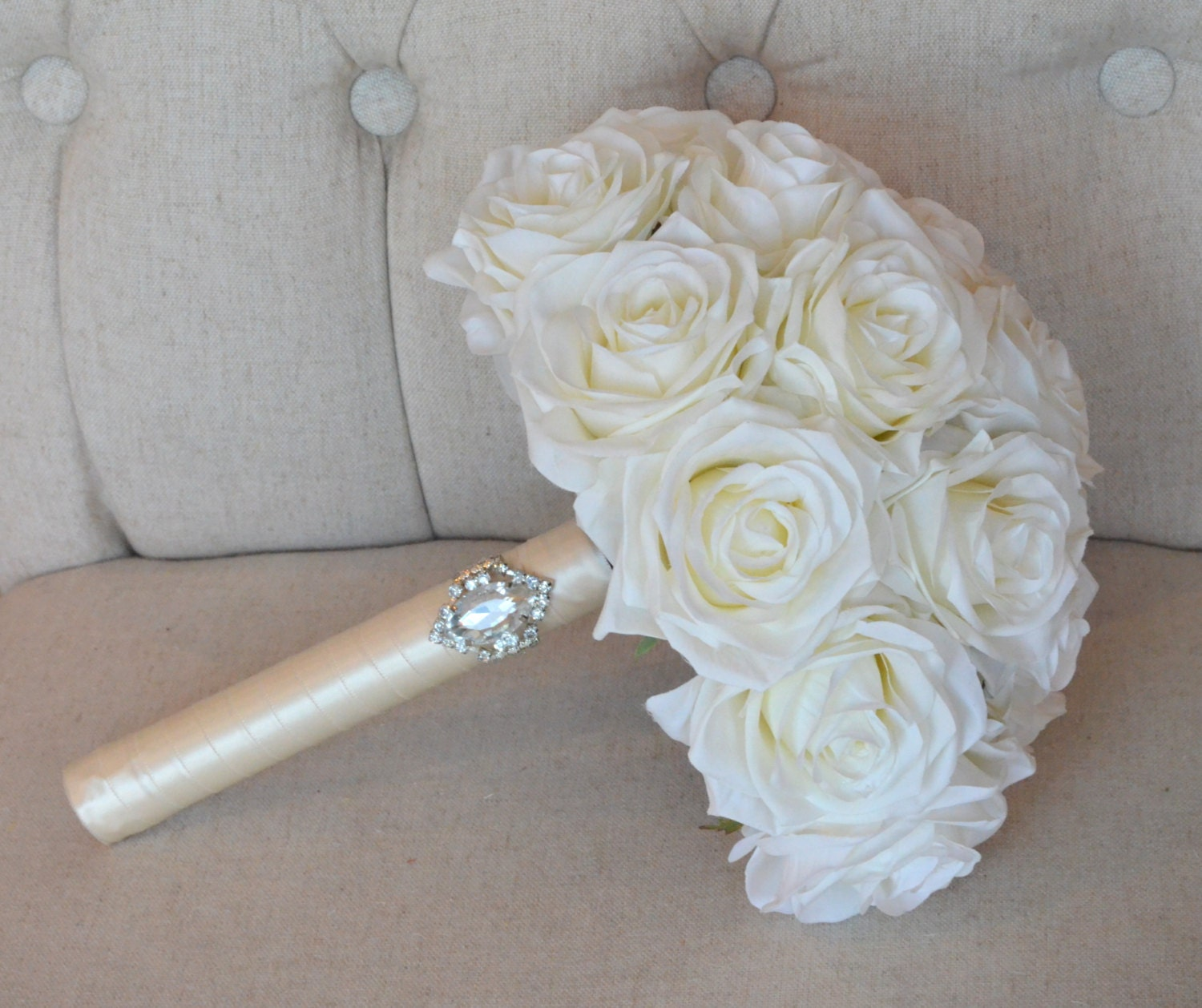 Ivory Bridal Bouquet Real Touch Silk Roses Brooch Bouquet