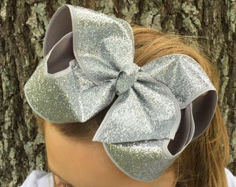 XL Silver Hair Bow - Big Silver Hair Bow - Big Hair Bows - Big Hairbows - Silver Glitter Bow - Silver Bows - Bows For Big Girls