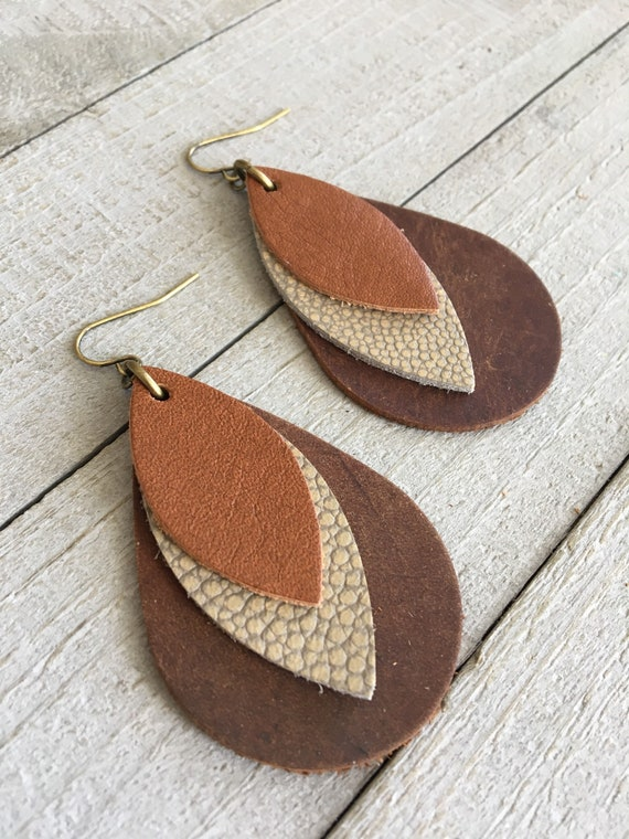 Leather Earrings - Boho Earthtone Brown Teardrop Genuine Leather Earrings  Lightweight Earthy Bohemian Dangle Earrings