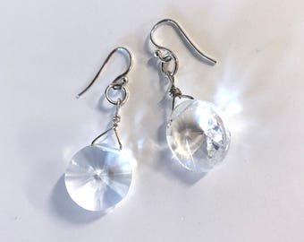 Genuine Clear Quartz Sterling Silver Earrings