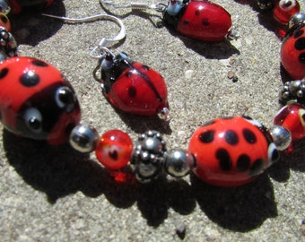 Lady Bug Bracelet and Earrings