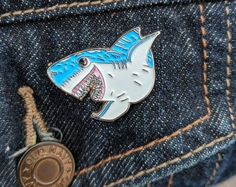 Jaws Happy Shark |Shark Enamel Pin | Soft Enamel Pin | Jaws Enamel Pin | Great White Shark | Shark Pin |