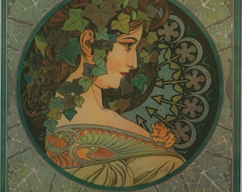 Ivy vintage art as a counted cross stitch pattern by Alfons Mucha