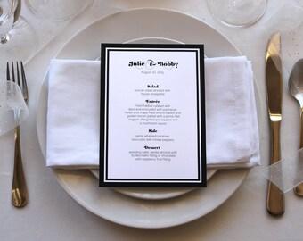 Romantic Simple Menu Art Deco Black and White Unique Pretty Wedding