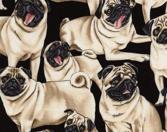 Pugs on Black Fabric by George McCartney / Pug Fabric / Timeless Treasures c2488 /Dog Fabric / Fat Quarter and Yardage / pugs by the yard
