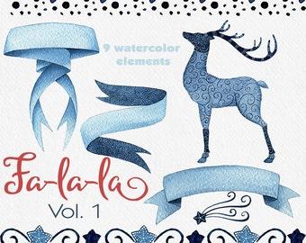 Christmas clipart, watercolor clipart, deer clipart, ribbon banner clipart, indigo clip art, design set, hand painted, seamless border, star