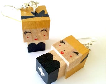 """Earrings Wooden Dolls """"Pin-Up"""" - Hand-made"""
