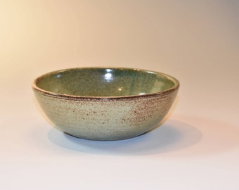 Round green and tan glazed ceramic bowl, hand thrown kitchen serving prep bowl - soup cereal ice cream bowl - everyday bowl - gift under 25
