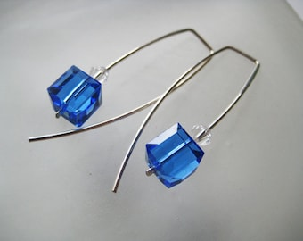 You choose from red, aquamarine, sapphire, pink or clear. Swarovski  crystal cubes, modern, simple. Argentium sterling