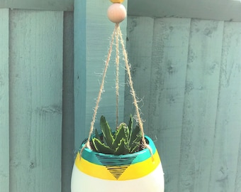 Hand painted Tribal/Ethnic Hanging Plant Pot- Yellow and green.